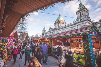 THE FESTIVE SIGHTS AND SOUNDS OF THE BELFAST CHRISTMAS MARKET COME ALIVE IN THE GROUNDS OF CITY HALL.